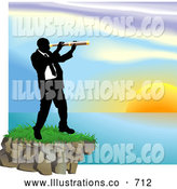 Royalty Free Stock Illustration of a Professional Businessman Looking Through a Telescope Across a Waterscape by AtStockIllustration
