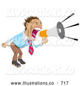 Royalty Free Stock Illustration of a Professional Businessman Screaming into a Megaphone by AtStockIllustration