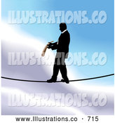 Royalty Free Stock Illustration of a Professional Businessman Walking on a Tightrope by AtStockIllustration