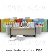 Royalty Free Stock Illustration of a Professional Businessman Working at a Desk, Surrounded by Papers and Unorganized File Cabinets by 3poD