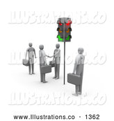 Royalty Free Stock Illustration of a Professional Businessmen Waiting at Red Stop Lights, Watching Two Men Engaged in a Handshake. by 3poD