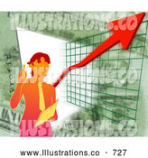 Royalty Free Stock Illustration of a Professional Businesswoman Standing by a Graph During a Presentation by AtStockIllustration