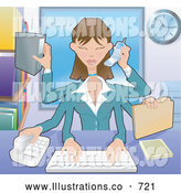 Royalty Free Stock Illustration of a Professional Busy Multi Tasking Assistant Secretary Woman Typing, Filing, Organizing and Taking Phone Calls by AtStockIllustration