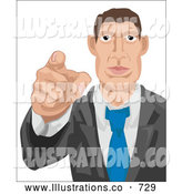 Royalty Free Stock Illustration of a Professional Caucasian Businessman Pointing Outwards, Looking for Employees by AtStockIllustration