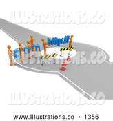 Royalty Free Stock Illustration of a Professional Construction Zone of Orange Men Carrying Com and Http Across a Road Block by 3poD