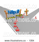 Royalty Free Stock Illustration of a Professional Construction Zone of Orange Men Carrying Http Across a Road Block by 3poD