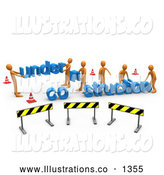 Royalty Free Stock Illustration of a Professional Construction Zone of Orange Men Carrying Letters Reading Under Construction by 3poD