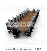 Royalty Free Stock Illustration of a Professional Coucil Consisting of Gray People, Conducting a Meeting at a Long Rectangular Table by 3poD