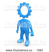 Royalty Free Stock Illustration of a Professional Creative Cog Headed Blue Person by 3poD