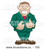 Royalty Free Stock Illustration of a Professional Friendly Boss Giving Two Thumbs up by AtStockIllustration