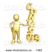 "Royalty Free Stock Illustration of a Professional Gold Person Leaning Against a Stacked ""Contact Us"" Icon for a Website Contact Form by 3poD"