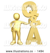 November 13th, 2013: Royalty Free Stock Illustration of a Professional Gold Person Leaning Against a Stacked Questions and Answers Icon by 3poD