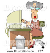 Royalty Free Stock Illustration of a Professional Gray Haired Secretary Woman Working at a Computer Desk in an Office by Djart