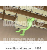 Royalty Free Stock Illustration of a Professional Green Person Carrying a Storage Box past Shelves in an Office by 3poD