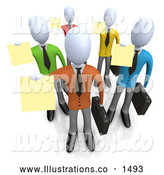 Royalty Free Stock Illustration of a Professional Group of Businessmen in Colorful Shirts, Carrying Briefcases and Holding Their Resumes up at a Job Interview by 3poD