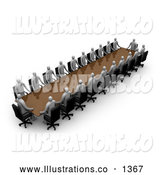 Royalty Free Stock Illustration of a Professional Group of Gray People During a Conference, Seated at a Table by 3poD