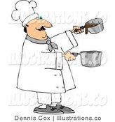 Royalty Free Stock Illustration of a Professional Male Chef Making Gravy in Two Pots by Djart