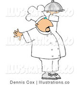 Royalty Free Stock Illustration of a Professional Male Cook Carrying a Covered Silver Serving Plate by Djart