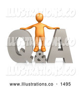 November 13th, 2013: Royalty Free Stock Illustration of a Professional Man Standing Atop a Gray Questions and Answers Icon by 3poD