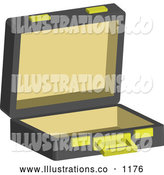 Royalty Free Stock Illustration of a Professional Open Empty Briefcase by AtStockIllustration