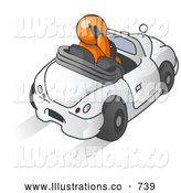 Royalty Free Stock Illustration of a Professional Orange Businessman Talking on a Cell Phone While Driving in a Convertible Car by Leo Blanchette