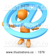 Royalty Free Stock Illustration of a Professional Orange Person Carrying a Large Blue at Email Symbol Around His Shoulders by 3poD