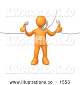 Royalty Free Stock Illustration of a Professional Orange Person Handling Three Customer Service Lines and Multi Tasking at the Office by 3poD