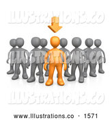 Royalty Free Stock Illustration of a Professional Orange Person Leading a Group of Gray People, an Arrow Above His Head by 3poD