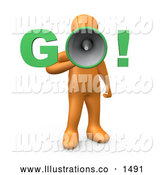 "November 13th, 2013: Royalty Free Stock Illustration of a Professional Orange Person Screaming ""Go!"" Through a Loud Megaphone, Symbolizing the Start of Something, a Race, or Job Hunting by 3poD"