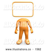 Royalty Free Stock Illustration of a Professional Orange Person Standing with a Blank Sign or Message Board Head by 3poD
