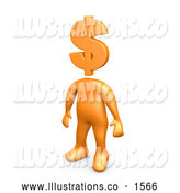 Royalty Free Stock Illustration of a Professional Orange Person Standing with a Dollar Sign As a Head by 3poD