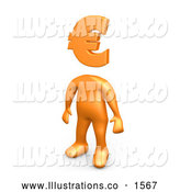 Royalty Free Stock Illustration of a Professional Orange Person Standing with a Euro Symbol As a Head by 3poD