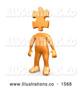 Royalty Free Stock Illustration of a Professional Orange Person Standing with a Puzzle Piece As a Head, Symbolizing Creativity by 3poD