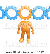 Royalty Free Stock Illustration of a Professional Orange Person with a Cog Head Connected to Blue Gears, Symbolizing Inventing and Creativity by 3poD