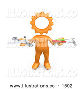 Royalty Free Stock Illustration of a Professional Orange Person with a Cog Head, Holding Nails, Screwdriver, Hammer, Saw and Wrench While Repairing a Website by 3poD