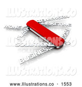 Royalty Free Stock Illustration of a Professional Red Swiss Army Knife with Text Instead of Blades Reading Money, Plan, Solution, Business, Teamwork, Marketing, and Goal by 3poD