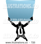 Royalty Free Stock Illustration of a Professional Silhouetted Business Man Holding up a Blank Sign by AtStockIllustration