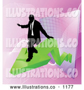 Royalty Free Stock Illustration of a Professional Successful Businessman Riding on a Green Arrow As Revenue Increases by AtStockIllustration