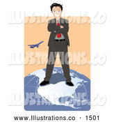Royalty Free Stock Illustration of a Professional Successful Businessman Standing on Top of the North American Continent on a Globe While a Plane Flies in the Background by Vitmary Rodriguez