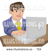 Royalty Free Stock Illustration of a Professional Young Businessman Working on a Laptop Computer by AtStockIllustration