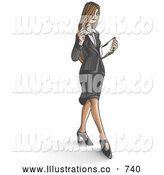 Royalty Free Stock Illustration of a Professional Young Businesswoman Looking down at Paperwork While Walking by Leo Blanchette