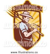 Royalty Free Stock Illustration of a Profiled White Male Farmer with a Pitchfork in a Mountian Shield by Patrimonio