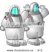 Royalty Free Stock Illustration of a Proud American Man and Woman Traveling to Space on a NASA Shuttle by Djart