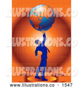 Royalty Free Stock Illustration of a Proud Businessman in a Blue Suit and Red Tie, Standing Against an Orange Background and Holding the Planet Earth High Above His Head, Symbolizing Success by Tonis Pan