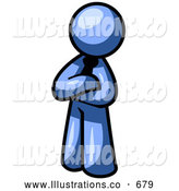 Royalty Free Stock Illustration of a Proud Friendly Blue Man Standing with His Arms Crossed by Leo Blanchette