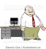 Royalty Free Stock Illustration of a Pudgy Caucasian Office Man Holding a Pink Slip by Djart