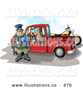 Royalty Free Stock Illustration of a Pulled over Caucasian Man in a Truck Watching a Cop Writing a Speeding Ticket by Djart