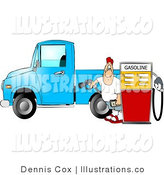 Royalty Free Stock Illustration of a Pump Jockey at the Gas Station Pumping Diesel Fuel into His Pickup Truck by Djart