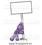 August 18th, 2014: Royalty Free Stock Illustration of a Purple Man Pushing a Blank Sign Upright by Leo Blanchette