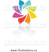 Royalty Free Stock Illustration of a Rainbow Circle and Shadow by Elena
